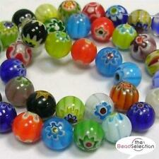 MILLEFIORI GLASS BEADS ROUND 4mm 6mm 8mm 10mm TOP QUALITY