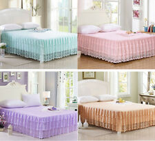 Lace Princess Valance Bed Skirt Fitted Sheet Twin Queen King Size