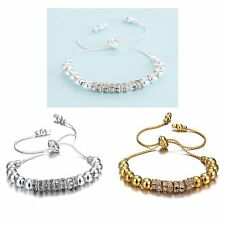Hot Womens Lady Crystal Bead Bracelets Elegant Jewelry Silver Plated Party Gifts