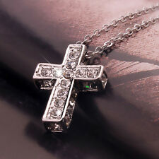 Women Rhinestone Inlaid Cross Pendant Necklace Fashion Casual Jewelry Great