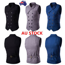 Mens Double Button Collar Slim Waistcoat Gilet Jacket Vest Coat Business Tops