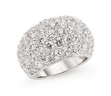 Band Ring Dome Ring Wide Ring Platinum Plated Sterling Silver Ring