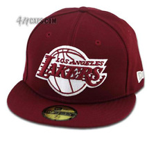 New Era 59FIFTY Los Angeles LA Lakers Fitted Burgundy Cardinal Red Hat Cap NBA