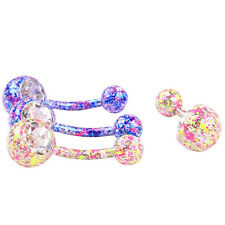 Body Piercing Jewelry Crystal Floral Dangle Button Belly Navel Ring Bar Charm