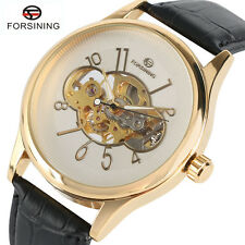 FORSINING Skeleton Genuine Leather Men Hand Winding Mechanical Wrist Watch Gifts