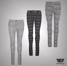 New Ladies Branded Golddigga Everyday All Over Print Jeggings Trousers Size 8-18