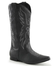 Black Cowboy Pull On Mens Boots
