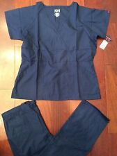 #1711 Beverly Hills New Medical Uniform Nursing Scrubs Set Navy Blue LARGE & XL