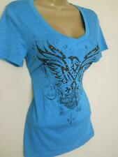 HARLEY DAVIDSON Studded Tribal V Neck T-Shirt Top Teal NWT