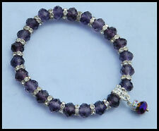6 x 8mm PURPLE CRYSTAL GLASS BEADED SILVER STRETCH CHARM BRACELETS MIXED SIZES