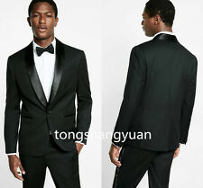 Custom Formal Men Suits Lapel Jackets+Pants Groom Tuxedos one Button Black Slim
