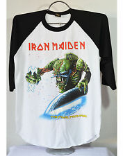 Iron Maiden The Final Frontier Baseball T-Shirt metal rock band tour black/white