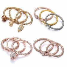 New 3Pcs/set Women Crystal Cuff Bracelet Multilayer Bangle Jewelry Wedding Gifts