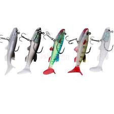 5Pcs Soft Baits Bionic Crankbaits T Tail Lead Fishing Lures with Treble Hook