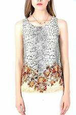 Ultrapink Missy Womens Sleeveless Floral Pattern Lined Designer Burnout Top