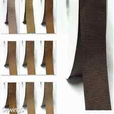 """top quality grosgrain ribbon 1.5"""" / 38mm wholesale 100 yards ivory to brown"""