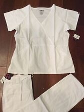 1711 Beverly Hills New RN LPN EMT Medical Uniform Nursing Scrubs Set WHITE LARGE
