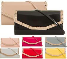 WOMENS LADIES FLAT ENVELOPE FAUX LEATHER GOLD CHAIN PARTY EVENING CLUTCH BAG