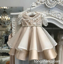 Girls Baptism Outfit Dresses White Ivory Champagne Christening Gowns Custom Lace