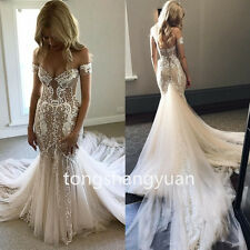 Mermaid Wedding Dress Off-shoulder Armband Bridal Gown Lace Beads Long Train New