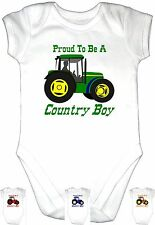 PROUD COUNTRY BOY Baby Grow Gro Clothes Vest U k TRACTOR Funny Bodysuit Gift Fun