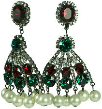 KENNETH JAY LANE – CHANDELIER EARRINGS, CRYSTAL & PEARL OR RED & GREEN