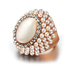 18K Rose gold GP Opal Cat Eye Crystal Pearl Cocktail Ring Wedding Gift R239