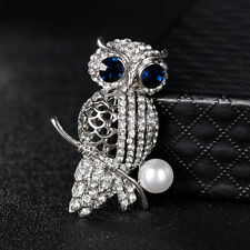 VINTAGE WOMEN JEWELRY RHINESTONE HOLLOW IMITATION PEARL OWL BROOCH PIN HOT CHIC