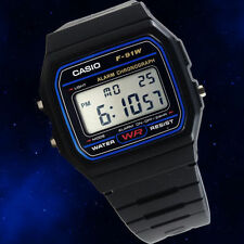 BRAND NEW CASIO F91W CLASSIC DIGITAL ALARM BLACK WRIST WATCH RETRO VINTAGE