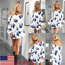 Womens Floral Off Shoulder Casual Strappy Party Sundress Swing Mini Short Dress