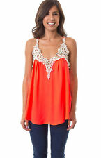 NEW BOUTIQUE STYLE NEON CORAL CROCHET FRONT DRAPED TANK TOP S,M,L
