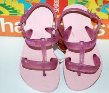 HAVAIANAS Genuine BNWT Toddler Girls THONGS FLIP FLOPS  Logo JOY Pink Rear Strap