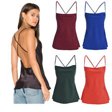 Fashion Women's Retro Backless Strappy Clubwear Tank Colorful Camisole Vest Top