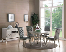 5pc Dining Room Kitchen Set Table 4 Diamond Tufted Parson Chairs Round Table