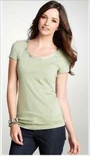 NWT Ann Taylor Short Sleeve Charmeuse Trim Scoop Neck Tee T Top  $24 NEW  Green