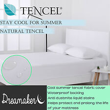 Cool Summer Tencel Jersey Waterproof Mattress Protector Cover White All Sizes