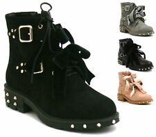WOMENS LADIES WESTERN STUDDED SPIKES LOW HEEL ANKLE BOOTS BIKER COWBOY GOTH SIZE