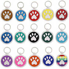 Pet ID Tag Engraved Dog Tags Cat Charms Collar Identification Paw Print Pet Tags