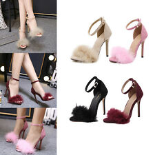 Womens Ankel Strap Open Toe Stiletto Wedding Pumps High Heels Sandal Shoes Size