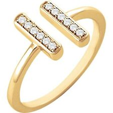 BAR RING 1/10ctw DIAMONDS 14kt Solid White or Yellow Gold Your Choice! ERV:$675