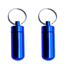 2x Waterproof Pill Box Case Drug Holder Container Capsule Bottle Key Ring Chain