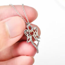 """925 Sterling Silver Angel Wings Necklacks Heart Pendants Necklaces /18"""" Chain"""
