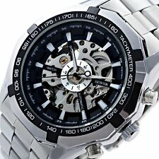 Luxury Stainless Steel Analog Skeleton Automatic Mechanical Sport Wrist Watch