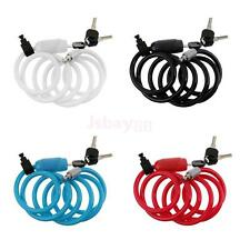 Spiral Cable Mountain Bicycle Bike Coil Lock Bracket Cycle Chain with 3 Keys