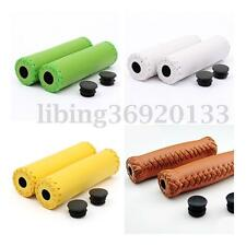 Vintage Retro Leather Cycling MTB Road Mountain Bike Bicycle Handlebar Grip Ends