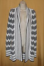 BCBG Max Azria women's black white knit open front sweater cardigan top L $240