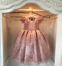 2017 Pink Flower Girl Dress Bead Lace Wedding Formal Ball Gowns Custom Size 2-14