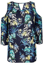 YoursClothing Plus Size Womens Floral Print Cold Shoulder Top Embellishment