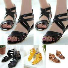 Womens Ladies Hollow Out Ankle Strap Casual Flat Sandals Gladiators Shoes Size