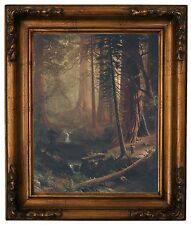 Bierstadt Giant Redwood Trees of California Wood Framed Canvas Print Repro 11x14